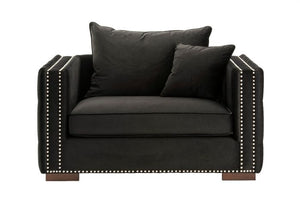 Mayfair Velvet Tufted Snuggle Chair Black