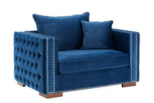 Load image into Gallery viewer, Mayfair Velvet Tufted Snuggle Chair Royal Blue