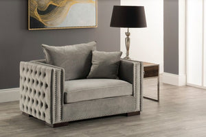 Mayfair Velvet Tufted Snuggle Chair Silver