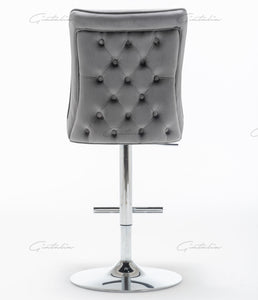 Dark Grey Tufted Bar Stools