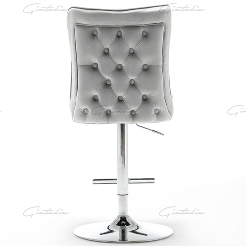 Light Grey Tufted Bar Stools