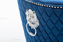 Load image into Gallery viewer, Quilted French Velvet Wing Back Lion Head Knocker Chrome Base Stools - BLUE