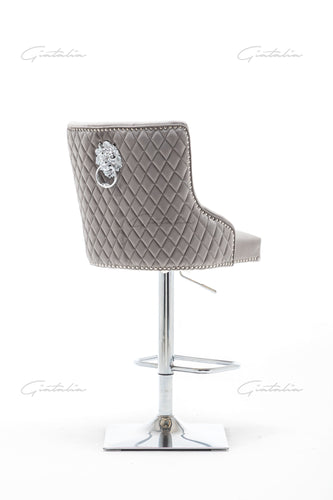 Quilted French Velvet Wing Back Lion Head Knocker Chrome Base Stools - LIGHT GREY