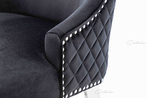 Quilted French Velvet Wing Back Lion Head Knocker Chrome Leg Dining Chair - BLACK