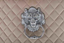 Load image into Gallery viewer, Quilted French Velvet Wing Back Lion Head Knocker Chrome Leg Dining Chair - CREAM