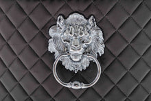 Load image into Gallery viewer, Quilted French Velvet Wing Back Lion Head Knocker Chrome Leg Dining Chair - BLACK