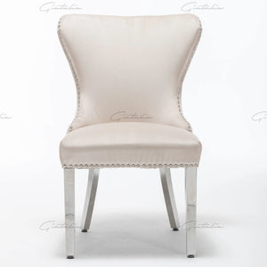 Cream  French Plush Tufted Winged Velvet Dining Chair