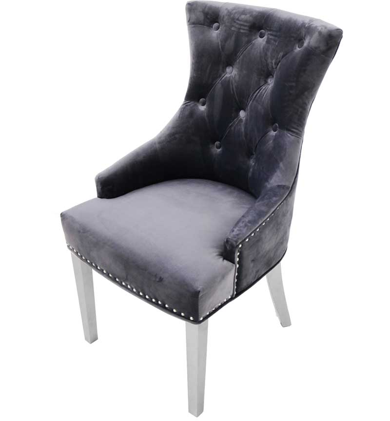 Pair Of Grey Tufted Dining Chair With Chrome Legs