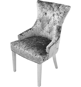 Pair Of Silver Tufted Dining Chair With Chrome Legs