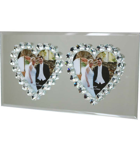 Heart Shaped Mirror Photo Frame Duo
