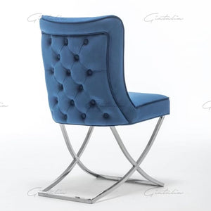 Tufted Blue Dining Chairs