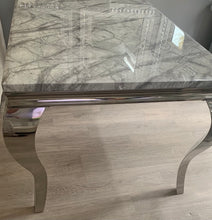 Load image into Gallery viewer, 1.2m Louis Grey Marble & Stainless Steel Dining Table
