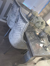 Load image into Gallery viewer, 1.5m Louis Grey Marble & Stainless Steel Dining Table