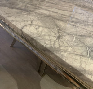 1.5m Louis Grey Marble & Stainless Steel Dining Table