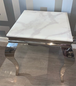 Louis White Marble & Stainless Steel Lamp / Side Table