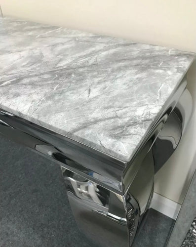 Louis Grey Marble & Stainless Steel Console Table 140cm x 40cm x 75cm