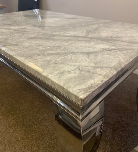 Louis Grey Marble & Stainless Steel Coffee Table 130cm x 70cm x 42cm