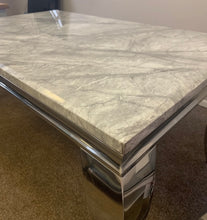 Load image into Gallery viewer, Louis Grey Marble & Stainless Steel Coffee Table 130cm x 70cm x 42cm