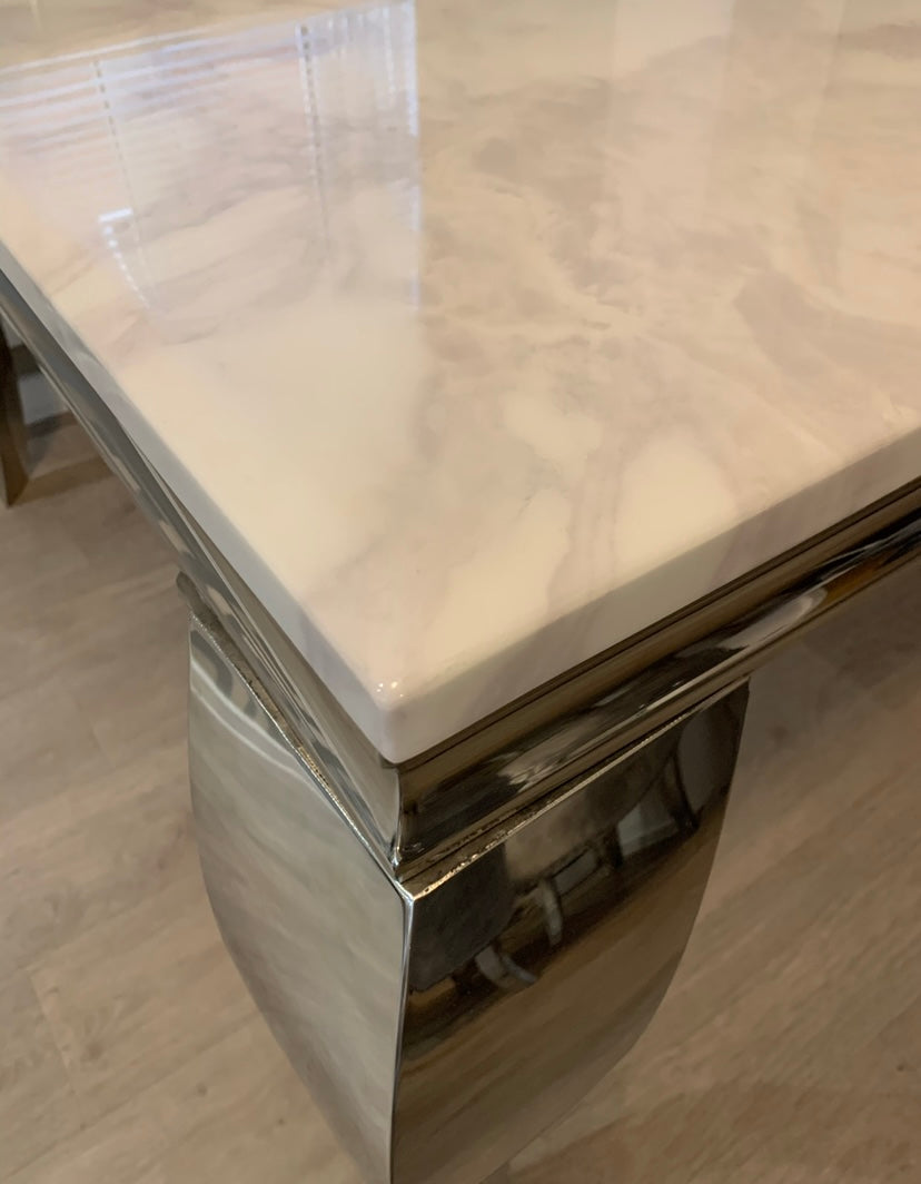 Louis White Marble & Stainless Steel Coffee Table 130cm x 70cm x 42cm