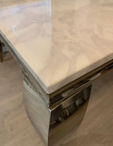Louis White Marble & Stainless Steel Console Table 140cm x 40cm x 75cm