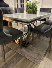 Load image into Gallery viewer, 1.8m Arianna Grey Marble & Stainless Steel Circular Base Dining Table