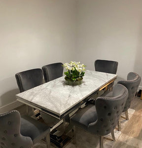 1.8m Arianna Grey Marble & Stainless Steel Circular Base Dining Table