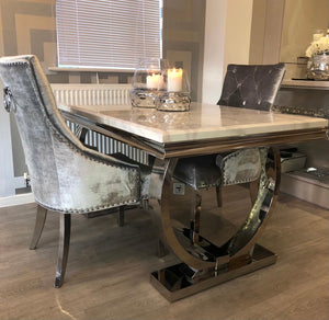 1.5m Arianna White  Marble & Stainless Steel Circular Base  Dining Table