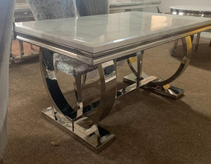 1.8m Arianna White Marble & Stainless Steel Circular Base Dining Table