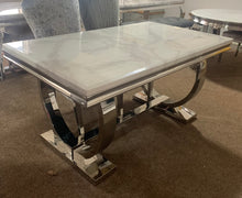 Load image into Gallery viewer, 1.8m Arianna White Marble & Stainless Steel Circular Base Dining Table