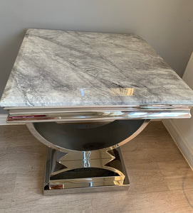 Arianna Grey Marble & Stainless Steel Circular Lamp / Side Table 50cm x 50cm