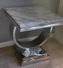 Load image into Gallery viewer, Arianna Grey Marble & Stainless Steel Circular Lamp / Side Table 50cm x 50cm