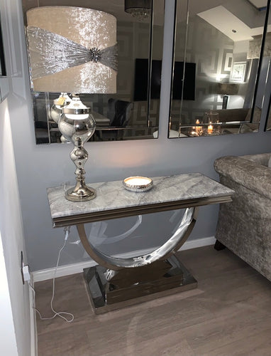 Arianna Grey Marble & Stainless Steel Circular Base Console Table 120cm x 40cm x 75cm
