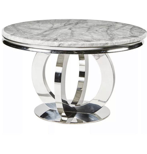 1.3m Arianna Round Grey Marble & Stainless Steel Circular Base Dining Table