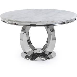 1.3m Arianna Round White  Marble & Stainless Steel Circular Base Dining Table