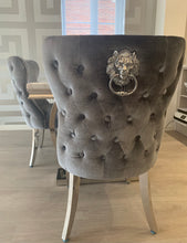 Load image into Gallery viewer, Grey Crushed Velvet Lion Knocker Winged Back Quilted Dining Chair