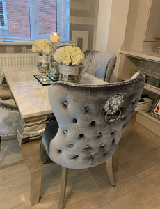 Grey Crushed Velvet Lion Knocker Winged Back Quilted Dining Chair