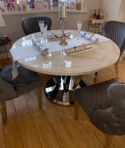 Winsor Round 1.3m White Marble Top With Stainless Steel Base Dining Table
