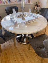 Load image into Gallery viewer, Winsor Round 1.3m White Marble Top With Stainless Steel Base Dining Table