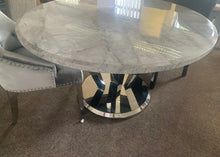 Load image into Gallery viewer, Winsor Round 1.3m Grey Marble Top With Stainless Steel Base Dining Table