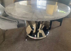 Winsor Round 1.3m Grey Marble Top With Stainless Steel Base Dining Table
