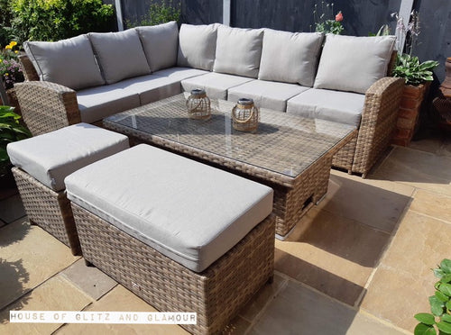 St Tropez Corner Rattan Sofa Dining Set In Brown