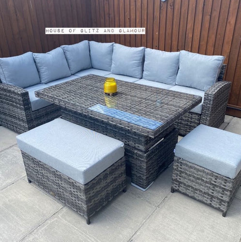 St Tropez Corner Rattan Sofa Dining Set In Grey
