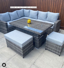 Load image into Gallery viewer, St Tropez Corner Rattan Sofa Dining Set In Grey