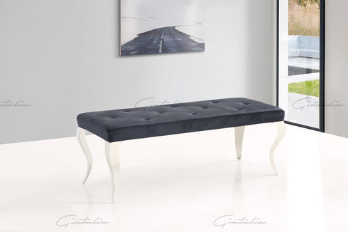 Black Plush Lia Velvet Bench With Stainless Steel Legs