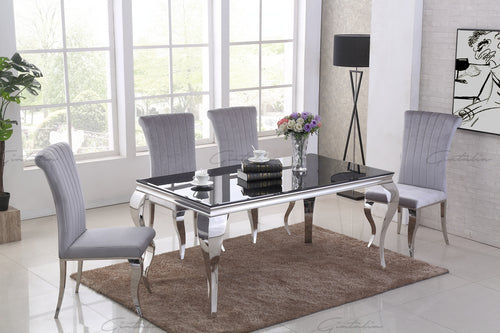 Louis BLACK Glass Dining Table 160cm by 90cm