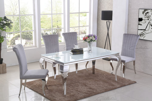 Louis WHITE Glass Top Dining Table 160cm x 90cm