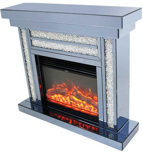 Crushed Diamond Fireplace & Electric Fire with Remote Control ( Smoked Mirror )