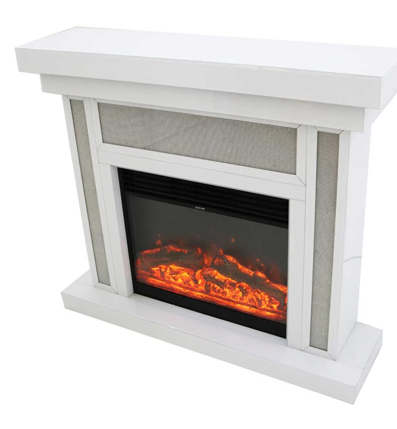 Fireplace in White & Electric Fire with Remote Control