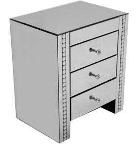 Silver 3 Drawer Bed Side