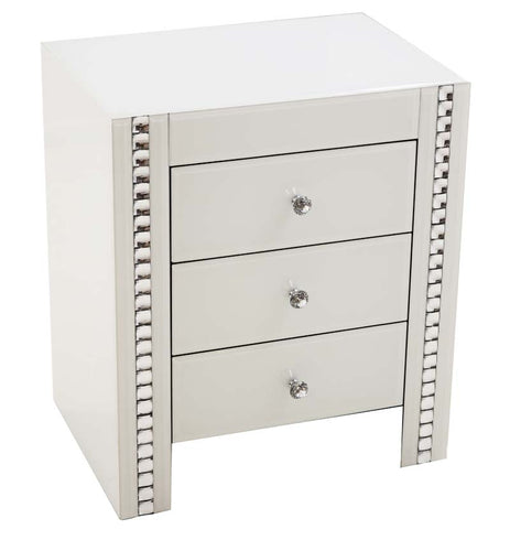 White 3 Drawer Bed Side